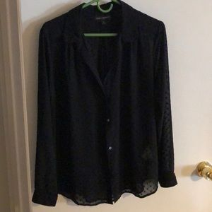 Black Sheer Blouse with Polka dot stitch pattern